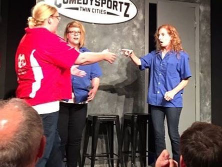 Catherine Thimmesh doing improve at ComedySportz